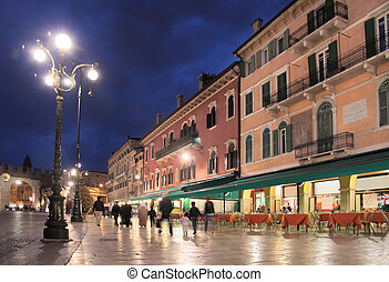 Piazza Bra in Verona at night - Piazza Bra at night, Verona,...