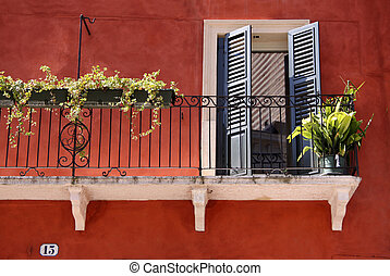 Colorful Balcony in the old town in Verona, Veneto, Italy