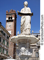 Ancient fountain with the Madonna Verona at Piazza delle...
