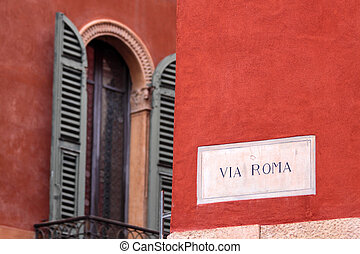 Via Roma in Verona - Via Roma street sign in the old town of...