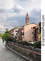 Bank of the river Etsch and the church of Sant Anastasia in...