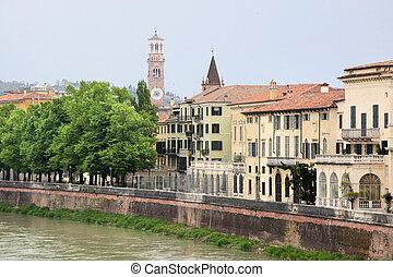 The river Etsch in Verona, Veneto, Italy