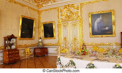 palace interior in Pushkin St. Petersburg Russia