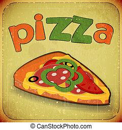 pizza retro label - Vintage card menu - pizza retro label