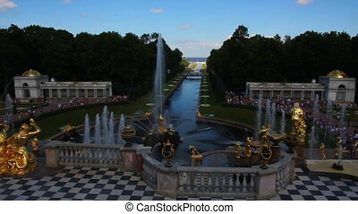 famous petergof fountains in St. Petersburg Russia - timelapse