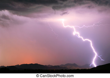 Arizona Monsoon Lightning 2012E - A bright lightning strike...