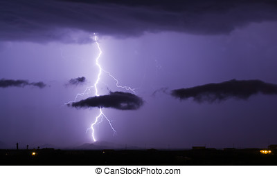 Arizona Monsoon Lightning 2012G - A bright lightning bolt...