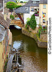 Mill wheels on stream Leuk ( too Leukbach ) in Saarburg,...