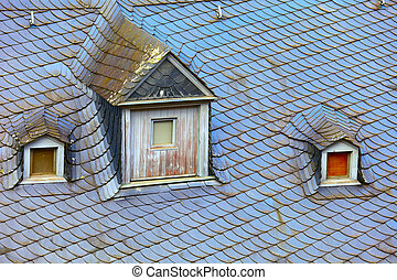 Old historic roof in small city Saarburg, Rheinland-Pfalz,...