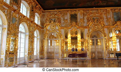 hall palace interior in Pushkin St. Petersburg Russia