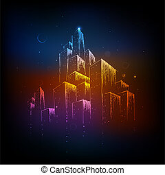 Colorful City - illustration of colorful building on...
