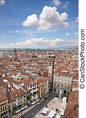 View over the Piazza delle Erbe in Verona - View over the...