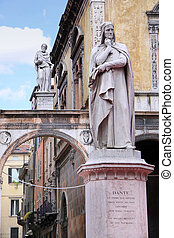 Piazza dei Signori, with the Monument of Dante in Verona -...