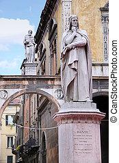 Piazza dei Signori, with the Monument of Dante in Verona -...