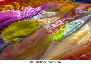 colorful shawls at the market
