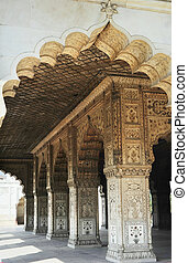Red Fort in Delhi - Pillars inside of Red Fort in Delhi,...