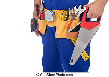 Worker with tool belt - closeup