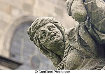 Unique baroque statue depicting avarice - Unique baroque...