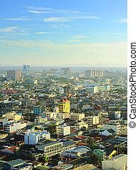 Manila skyline - Aerial view on  Metro Manila, Philippines