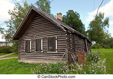 Old wooden house in russian village Novgorod region, Russia...