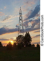 Geodetic point on the sunset in Russia.