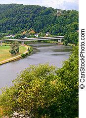 Landscape - River Saar by Saarburg, Rheinland-Pfalz,...