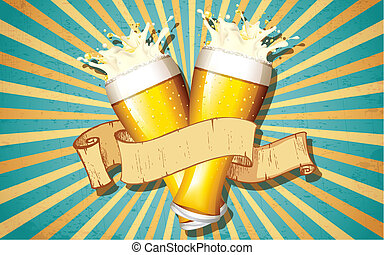 Beer Glass in Retro Background - illustration of beer glass...