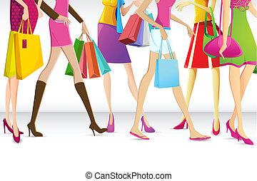 damski, chodzenie, zakupy