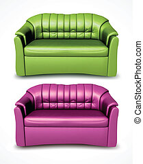 Green and pink vector sofas - Green sofa on white...