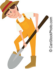 Boy digging with a shovel