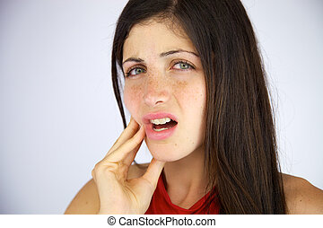 Beautiful girl with strong toothache - Gorgeous female model...
