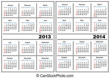Calendar template 2013,2014 - Template of a calendar of...