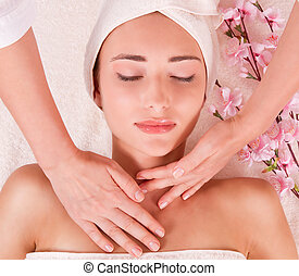 Beauty spa treatment - young women in spa. Massage. young...