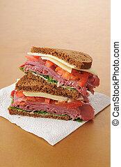 Corned beef sandwich on rye - A corned beef sandwich on dark...