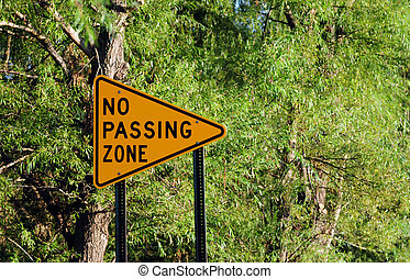 No passing zone sign - No passing zone traffic sign in...