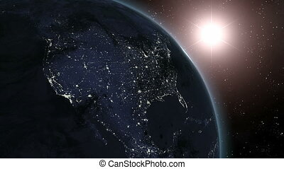 Earth (HE) Sunrise Over N. America - Sunrise over North...