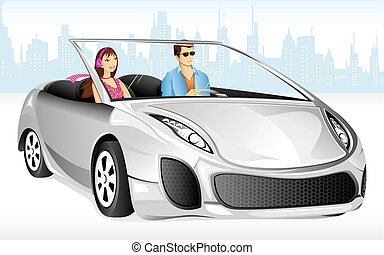 Couple enjoying Car Drive