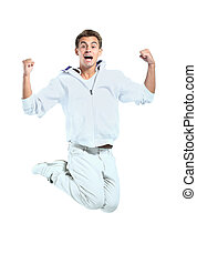 Jumping young man Isolated over white background