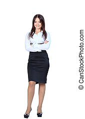 business woman standing in full body smiling happy at camera