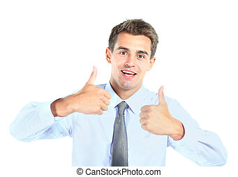 young business man showing thumbs up sign over white...