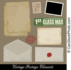 Set of Vintage Postage Elements - Set of Vintage Postage...