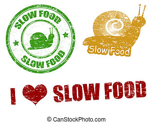 Slow food stamps - Set of grunge rubber stamps with the text...
