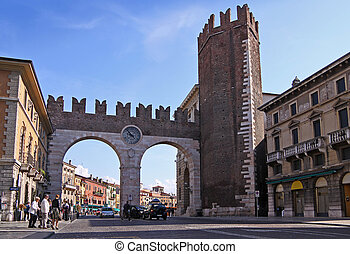 Town gate in Verona - Town gate at the Piazza Bra in Verona,...