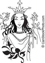 Vector illustration of romantic Queen - Vector illustration...
