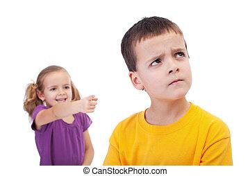 intimide, conceito, -, menina, mocking, jovem, Menino