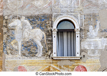 Cathedral square of Trento, house - Historic painted house...