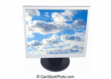 Monitor - Lcd Monitor with cloudy screen