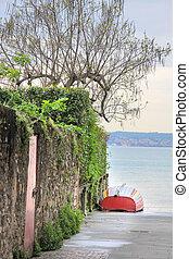 Colorful Rowboat in Sirmione on Lake Garda, Region of...