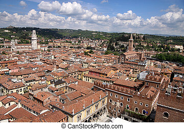 The old town of Verona seen from the Torre dei Lamberti,...