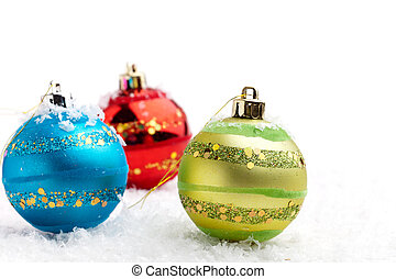 Christmas baubles - Colorful Christmas baubles on white...